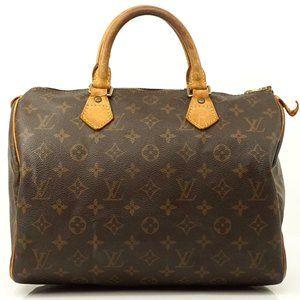 Auth Louis Vuitton Speedy 30 Brown Bag #3636L14